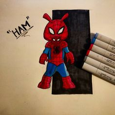 Late late night. Don't know what I was doing drawing Spider-Ham, believe it or not he's part of the Spiderverse as an alternate version of Spiderman! Super cute 😄 I guess I drew him real quick because of the new Homecoming trailer and how it made me feel like a little kid again since Spidey is my favourite Marvel character 😀, can't wait to see the movie!  #spiderman #spiderverse #spiderham #pig #alternate #universe #copics #ham #markers #sketch #homecoming #marvel #marveluniverse #porky…