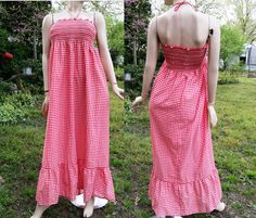 Vintage Sundress / 70s Dress / Vintage Dress / 70s Sundress/ Vintag Maxi Dress in Red and White Checks byThe Lovely Co, Fits Up To Size 12 by gottagovintage1 on Etsy
