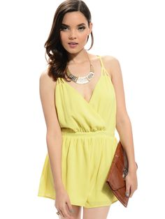 Yellow Crisscross Open-Back Romper | $10 | Cheap Trendy JumpsuitsRompers Chic Discount Fashion