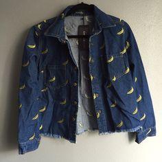 Choies Banana Denim Thick structured dark denim with banana embroidery detail. Choies Jackets & Coats