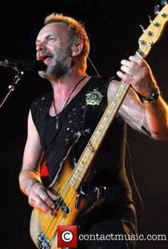 The #Police - rock band. Bassist shown: #Sting. RESEARCH #DdO:) - https://www.pinterest.com/claxtonw/bass-foundation/ - Gordon Matthew Thomas Sumner CBE, known professionally by his stage name Sting, is an English musician, singer, songwriter, multi-instrumentalist, activist, actor, and philanthropist. Got nickname STING from his striped sweater.