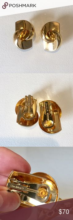 Christian Dior gold tone clip on earrings Vintage abstract art deco gold tone Christian Dior clip-on earrings from 70s Christian Dior Jewelry Earrings