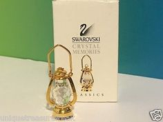 SWAROVSKI CRYSTAL MEMORIES FIGURINE ACCESSORIES BOX VINTAGE OIL LANTERN LIGHT