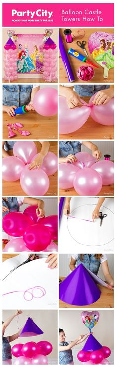 Enchant your party princesses with castle towers made of balloons! Magically make them with just balloons, ribbon, wrapping paper and a balloon pump. Lila Party, Festa Party, Blue Party, Party Party, Disney Princess Birthday, Princess Theme, Princess Tower, Princess Castle, Princess Balloons