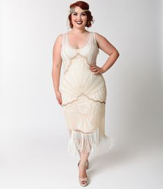 1920s Vienna Mesh Fringe Flapper Dress
