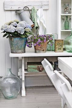 ♕ beautiful colors and vintage finds on the patio