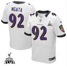 Baltimore Ravens http://#92 Haloti Ngata NIKE White Color With Super Bowl Patch Mens Elite NFL Jersey$129.99