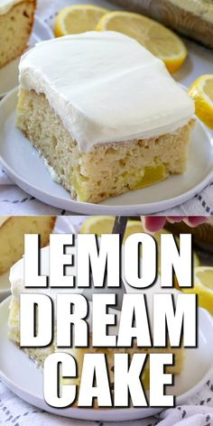 """Easy Lemon Dream Cake starts with a boxed cake mix swirled with lemon pie filling. All topped with a creamy, lemony whipped topping!"" Servings: 12 Ingredients 1 box vanilla cake mix ingredients needed to make cake: eggs, oil & Dessert Simple, Bon Dessert, Food Cakes, Cupcake Cakes, Lemon Dream Cake, Cake Mix Ingredients, Cake Mix Recipes, Cupcake Recipes, Lemon Recipes"
