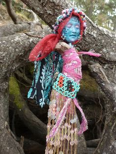 "The CAILLEACH (or Crone Goddess) whose name means ""hag"" or ""veiled one."" The blue-faced goddess of the Scots and the Irish. Born on October 31 (Samhain), she rules earth, sky, sun and moon. She calls down the the seasons, the cutting winds and icy storms. With a wave of her magical staff, she causes the crops to wither, blades of grass to turn to ice and frost to spread across the land.   The Winter Solstice marks the end of her reign when she returns to the mountains of snow and visits the sac…"