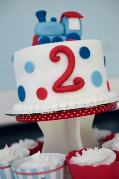 p's bday. Lindsey, something small like this just for him so he can dig into. We could use his trains to top it. I could do cake pops to go with it or mini cupcakes???
