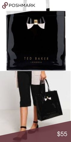 Ted Baker Large Tote Black Patent Leather, Shiny with bow in light pink and black with gold hardware.  NWOT Ted Baker London Bags Totes