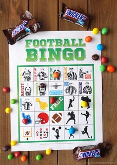 Play Free Printable Football Bingo and enjoy colorful treats with friends at your Game Day Homegating Party! Football Crafts, Free Football, Football Decor, Football Spirit, Football Parties, 2 Birthday, Football Birthday, Bingo For Kids, Games For Kids
