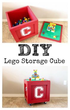 DIY Lego Storage Cube - FREE PLANS This Lego storage cube is awesome! What a great way to store Legos! The free plans are included with the tutorial! Lego Storage, Cube Storage, Small Storage, Wood Storage, Craft Storage, Diy Storage For Toys, Diy Toys, Toy Organization, Storage Baskets