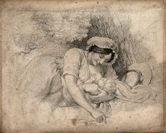 A woman breast feeding her child. Stipple engraving, 1810, after William Marshall Craig, 1806. English.