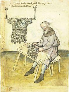 From the Hausbuch der Nürnberger Zwölfbrüderstiftungen  Mendel I, showing a mail maker c.1425. The gothic text reads:Der... Bruder der do starb der hieß Heinz und war ein Salbürett(Sarwürker) The brother who died there, his name was Heinz, and he was a Salbürett (Mail shirt maker).