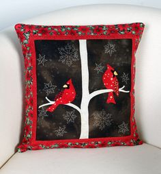 """Midwinter Night Pillow"" by Wendy Sheppard (from The Quilter Quilting for Christmas Holiday 2012 issue)"