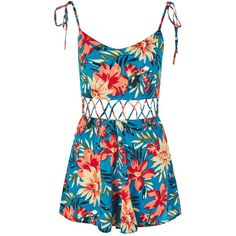 TopShop Petite Floral Crisscross Waist Playsuit (£52) ❤ liked on Polyvore featuring jumpsuits, rompers, dresses, playsuit, one piece, blue, criss cross romper, blue floral romper, petite rompers and blue rompers