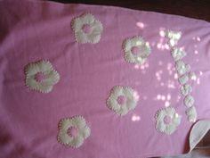 Fleece baby blanket: Pink Cream Cream Flowers