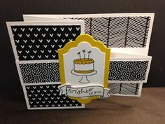 Z-Fold Swing Technique, Birthday Card, Stampin' Up!, Rubber Stamping, Handmade…