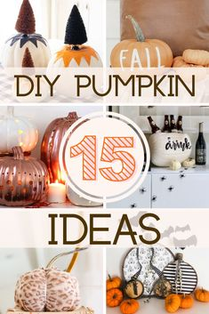 No carve DIY pumpkin projects that are perfect for fall! Looking for fun and unique ways to decorate your pumpkins for fall? These creative pumpkin decorating ideas will give you some serious inspo! 50 Diy Halloween Decorations, Halloween Party Decor, Diy Party Decorations, Pumpkin Decorations, Fake Pumpkins, Painted Pumpkins, White Pumpkin Centerpieces, No Carve Pumpkin Decorating, Creative Pumpkins