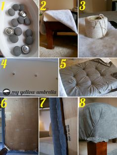 DIY tufted ottoman by Yellow Umbrella Furniture Projects, Furniture Makeover, Home Furniture, Diy Ottoman, Tufted Ottoman, Diy Bedroom Decor, Diy Home Decor, Yellow Umbrella, Decoration