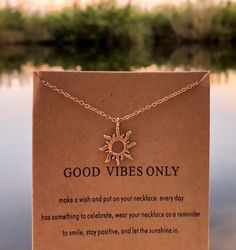 Excited to share this item from my shop: Good Vibes Only Sunshine Necklace Good Vibes Only, Sunshine, Etsy Shop, Diamond, Silver, Jewelry, Jewlery, Money, Bijoux