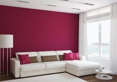 Living room wall decor pictures this living room is simple yet vibrant the bright pink accent Room Wall Decor, Living Room Decor, Bedroom Decor, Living Walls, Living Rooms, Bedroom Ideas, Room Color Schemes, Room Colors, Red Rooms