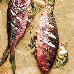 Stuffed whole Roasted Yellowtail Snapper - Fennel is often paired with fish, but you can easily substitute chopped, seeded, and peeled tomato, if you prefer. Use this versatile preparation with almost any small whole fish and your favorite fresh herbs.