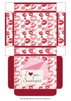 I Love You Sweetheart Gift box on Craftsuprint designed by Rhonda Brittain - This is a gift box to put the special little something in for the special little someone - Now available for download!
