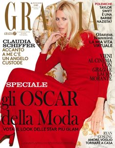 Claudia Schiffer wears a red gown and matching boots on Grazia Italy January 2016 cover