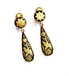 Damascene Earrings Spanish Toledo Gorgeous Great Condition By