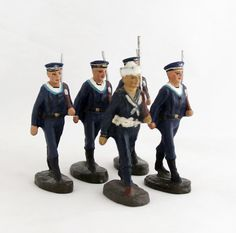 Vintage Navy Marine Sailor Soldier Cadet Collection 5 x Elastolin Toy Soldiers