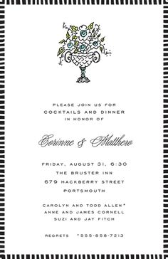 Striped Edge Black Invitation designed by Sweet Pea Designs Invitation Design, Invite, Return Address Stickers, Engagement Party Invitations, Free Paper, Engagement Invitations