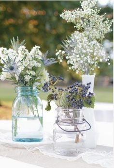 wildflower wedding centerpieces | Wildflowers in Mason Jars Wedding Centerpieces | Budget Brides Guide ...