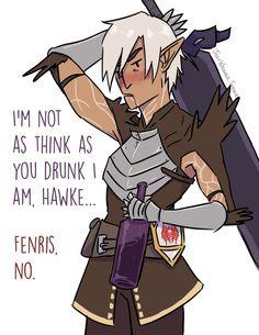 """""""I'm not as think as you drunk I am, Hawke..."""" """"Fenris, no."""" (Dragon Age 2. Fenris. Wine. Companions. Dragon Age Fanart)"""