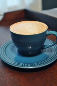 Le Creuset Stoneware Set of 2 Cappuccino Cups and Saucers, Marseille. Pretty @Lynaya Pena Pena Appleby