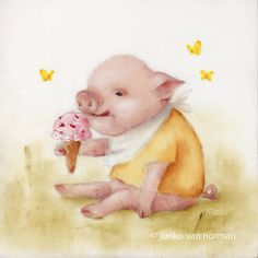 FRAMED Ice Cream Pig Wall Art Print for Baby by NickiNickiGallery, $35.75