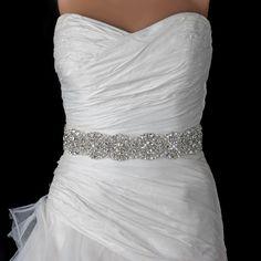 Rhinestone & Beaded Pearl Bridal Sash Belt