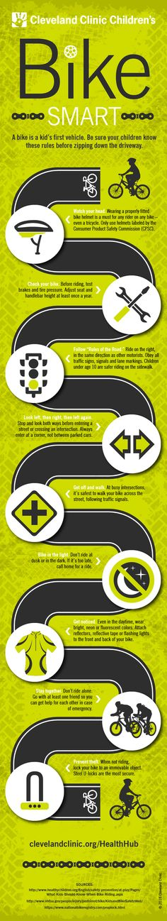 9 tips to help your kids #bike smart. #helmet #infographic