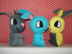 Three drunk and silly felt bunnies are looking for a new home! FELT.co.nz