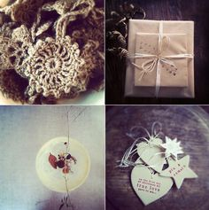 clockwise from top left: gorgeous jute crocheted Christmas decorations in newspaper taxi; signed copies of My Heart Wanders & Paris: Made by Hand wrapped and ready to be sent far away; on the coffee table; the sweetest handmade christmas decorations from paper boat press.