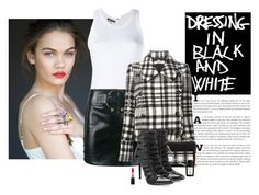 """""""Dressing In Black And White"""" by katiethomas-2 ❤ liked on Polyvore featuring Ann Demeulemeester, Anthony Vaccarello, STELLA McCARTNEY, Proenza Schouler, Tamara Mellon, Acqua di Parma and MAC Cosmetics"""