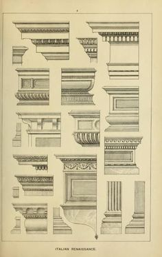 Elements of style in furniture and woodwork, be… Stilelemente in Möbeln und Holzarbeiten, … Architecture Antique, Neoclassical Architecture, Classic Architecture, Architecture Drawings, Sustainable Architecture, Architecture Design, Geometry Architecture, Landscape Architecture, Door Design