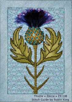 Zecca Thistle, stitched with guide by Robin King