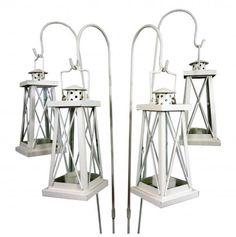 High Quality Set of 4 Cream Tea Light Garden Lanterns with Shepherds Crooks £12.99 for 4