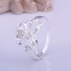 Wedding+Rings+Elegant+Charm+Butterfly+Love+Heart+Shape+Silver+Plated+Ring