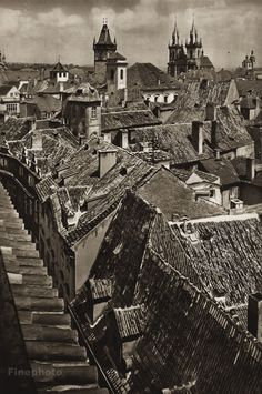 Karel Plicka shot fine monochrome photographs of Prague from the and documented a dark and mysterious Prague, a gothic and baroque Praha which. Prague Czech, Old World, Monochrome, Gothic, Louvre, Rooftops, Building, Photography, Travel