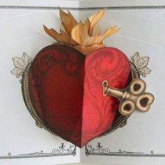 Key to Ones Heart  Popup Card by crankbunny on Etsy, $8.00