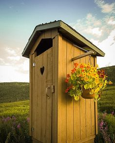 Wow, a well 'dressed' outhouse...looks great!  ===== ...too modern looking and new to be authentic...  built for the nostalgic look...