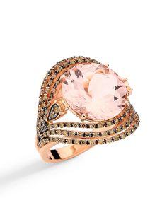 Brumani 18k Rose Gold Diamond Framed Round Morganite Ring. 18k Rose Gold with a Round Morganite and 6 Rows of Brown Pave Diamonds. Total Diamond Weight 1.10ct.